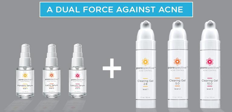 Our three strengths of serums and benzoyl peroxides are a dual force against acne.