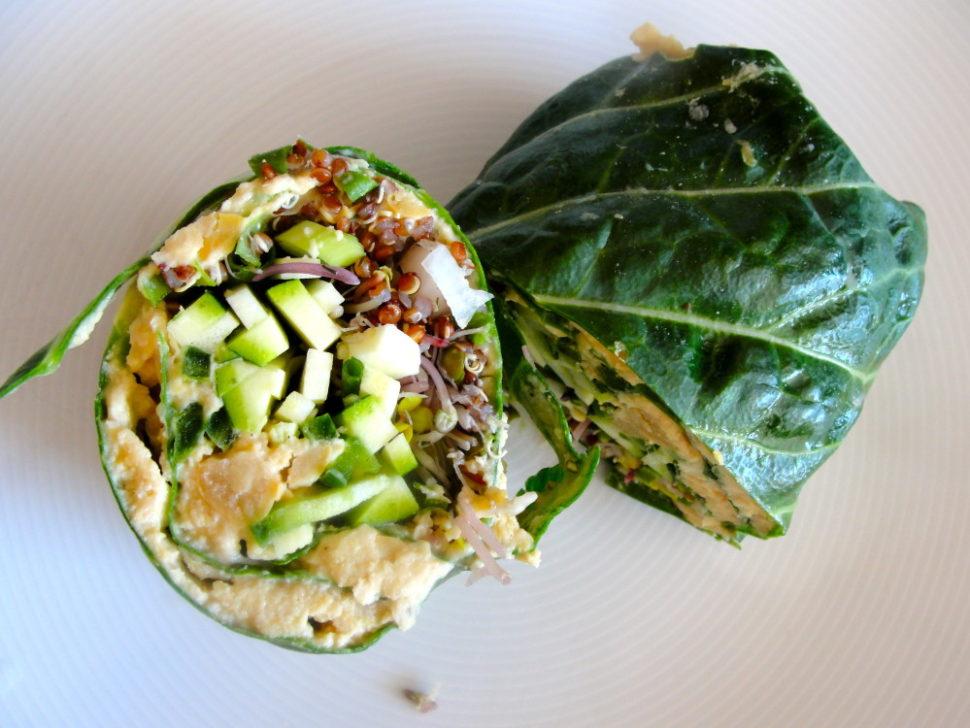 hummus quinoa collard roll