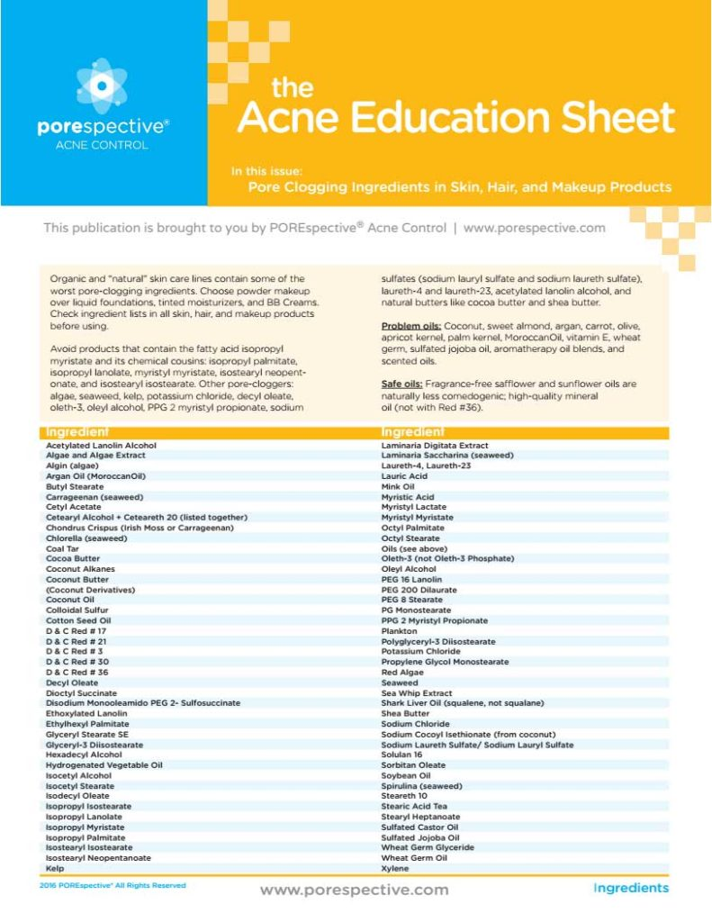 Pore Clogging Ingredients Acne Education