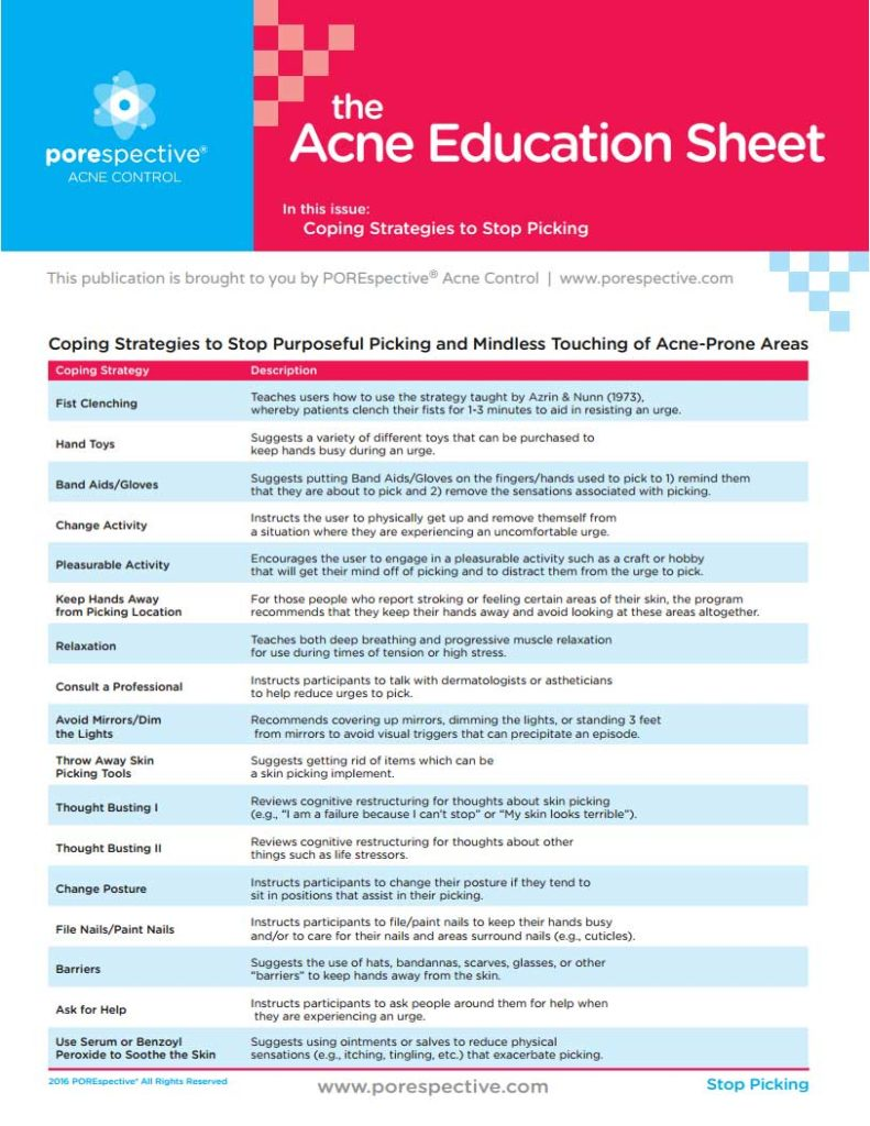 "photograph regarding Printable Patient Education Handouts named Printable Handouts Pertaining to Acne breakouts - POREspectiveâ""¢"